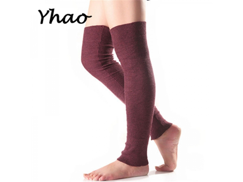 YHAO 2019 New Women's Soft Cashmere Yoga Socks Middle Long Boots Autumn Winter Long Stockings Knee