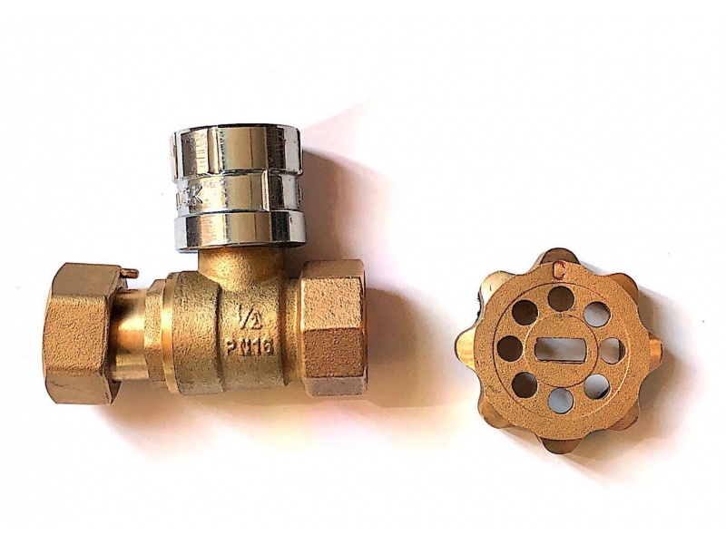 Brass straight Magnetic Lockable Ball Valve