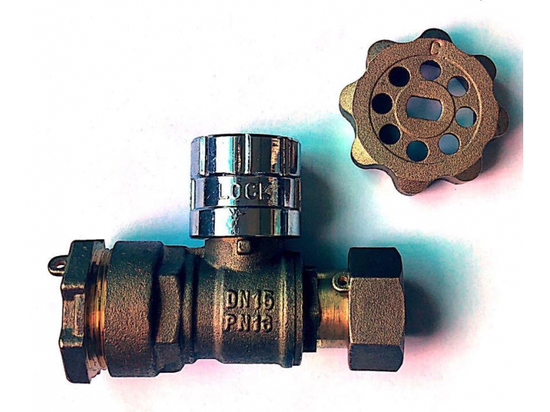 Magnetic Lockable straight  Brass Ball Valve