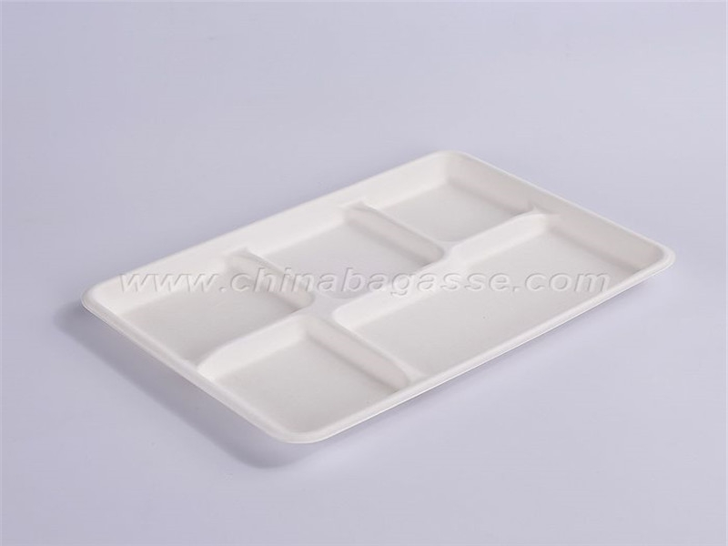 White 5 Com Bagasse Tray