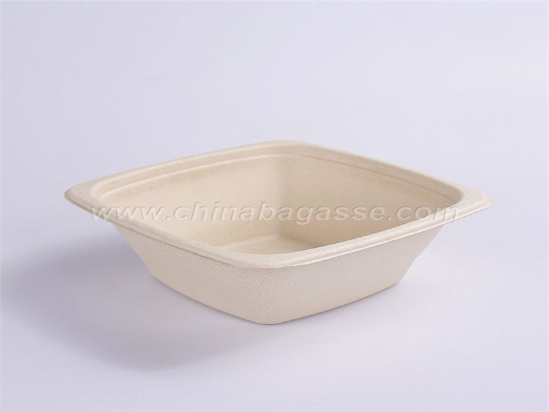 Paper Pulp Tableware 32oz Square Bowl