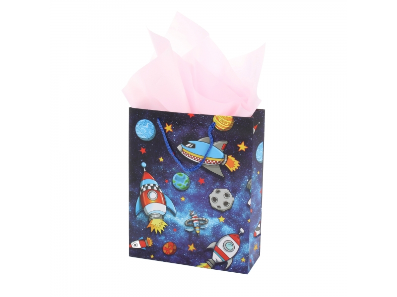 Magic space boy design good quality packing gift paper bag