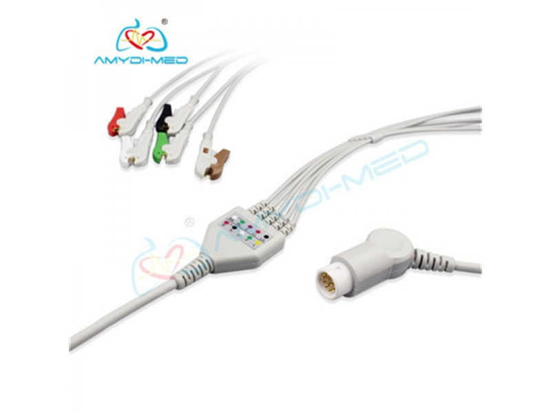 Philips compatible direct-connect ECG cable 5 leads clip IEC