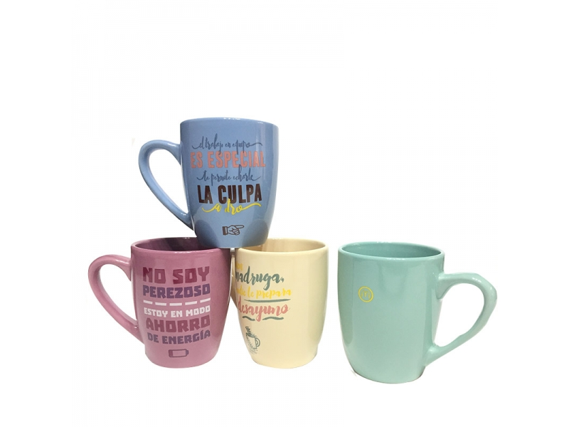 Wholesale Belly Shape Coffee Decal Mug With Heart Handle-340ml