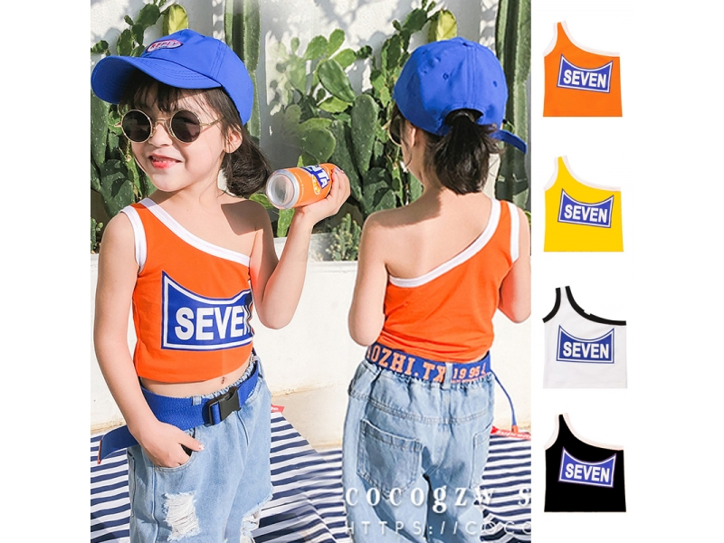 Children's clothing summer 2-10 years old girls T-shirt vest cotton fashion hip-hop sports style