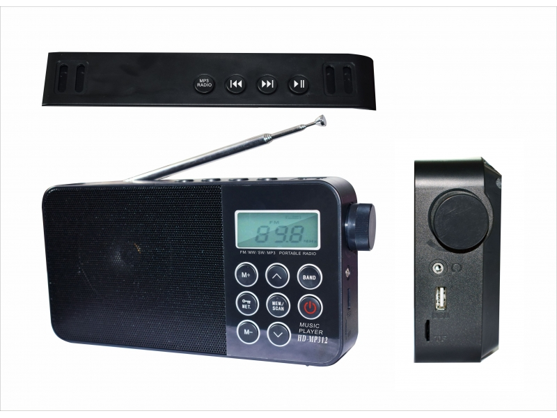 Worldwide receiver Multi-band FM/MW/SW Portable Radio with MP3 player Bluetooth speaker