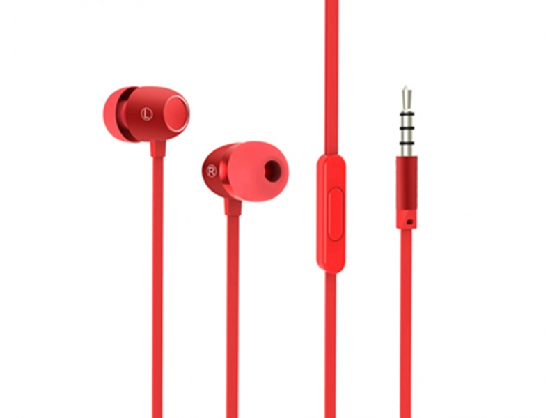 2019 New Arrived Wired Earphone Sport Stereo Earbud Red Flat Micro Mini In Ear Earphone