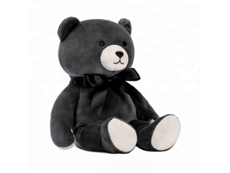 Custom soft fur bear plush stuffed toys custom black bow tie teddy bear