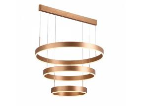 Auboma Modern Pendant Light Golden Acrylic with 3 Rings Yellow Led Light Chandelier in Dinning Room