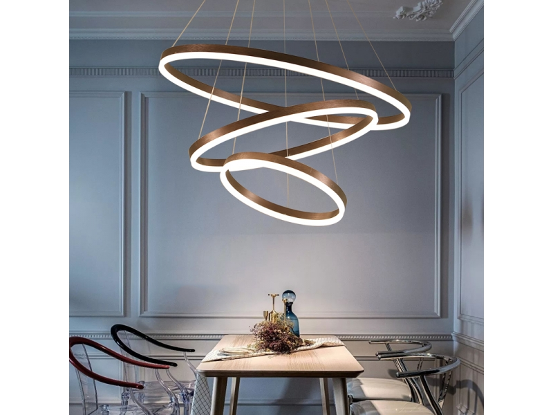 Auboma Modern Pendant Light Golden Acrylic with non-polar Yellow&White Led Light Chandelier in D