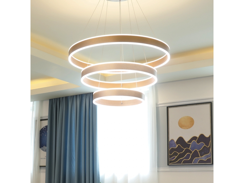 Modern Pendant Light Golden Acrylic with 3 Rectangles Yellow&White Led Light Chandelier in Dinni