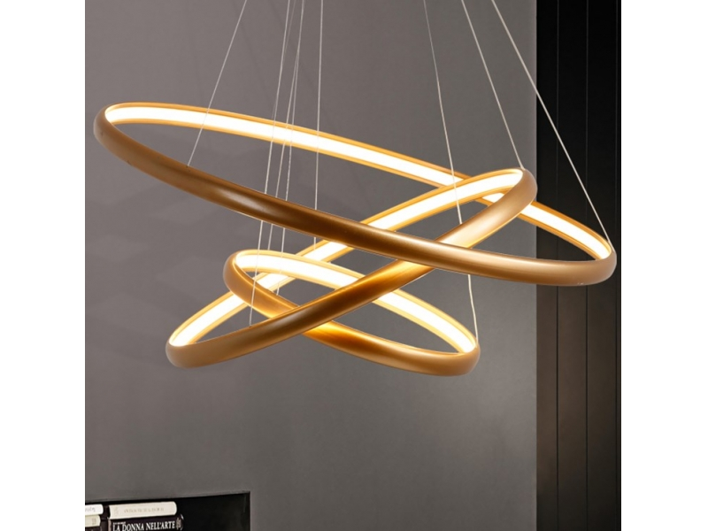 Modern Pendant Light Acrylic with 3 Rings Yellow&White Led Light Chandelier in Dinning Room