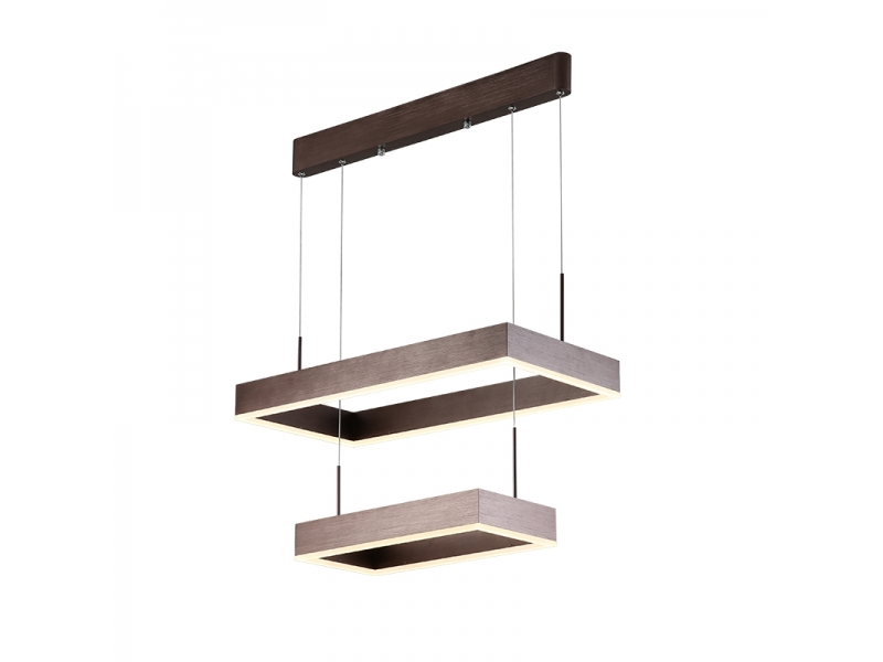 Modern Pendant Light Acrylic with 3 Square Wodden Color Led Light Chandelier in Dinning Room
