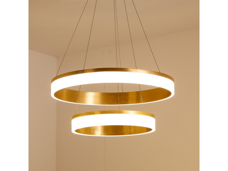 Modern Pendant Light Gloden Acrylic with 3 Rings Led Light Chandelier in Dinning Room