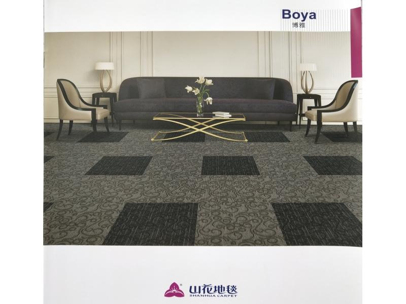 Carpet Tile Boya Series Nylon6,6 Pile Height 5-4-3mm 620-660g per sqm Backing PVC