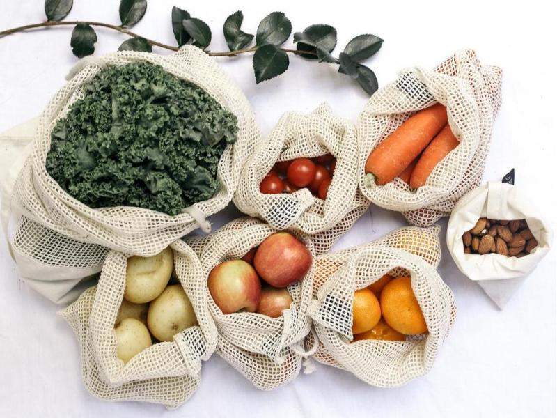 Organic Cotton Mesh Produce Bag Set Reusable Eco-Friendly
