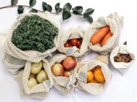 Organic Cotton Mesh Produce Bag Set Reusable Eco-Friendly