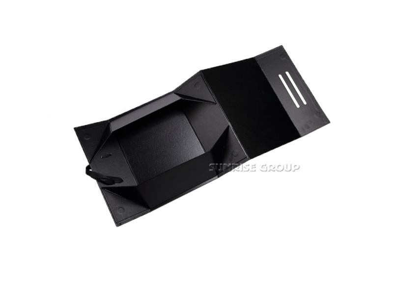 Recyclable Custom Foldable Handmade Paper Black Folding Gift box