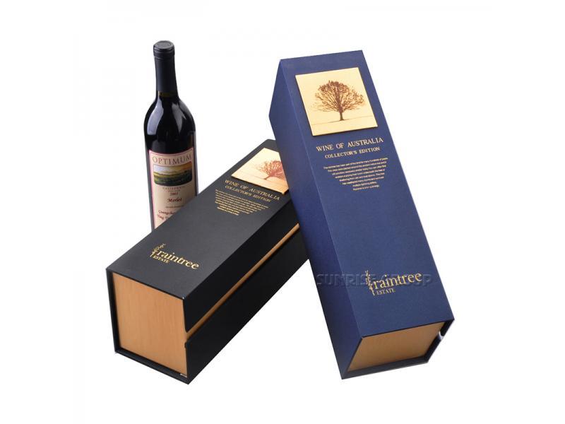 Luxury Hand-made Cardboard Rigid Wine Packaging Box