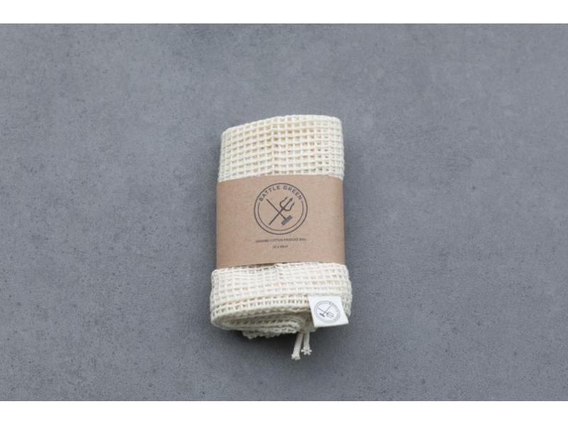 Cotton Mesh Produce Bag (Large) - Battle Green // Zero Waste, Plastic Free, Organic & Eco Friend
