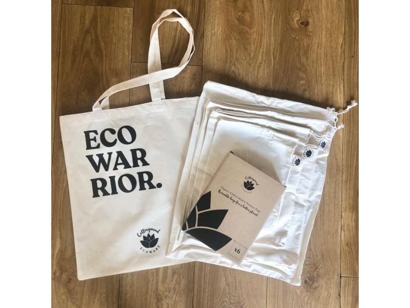Plastic Free Shopping Set - 6 Reusable Produce Bags + 1 Tote Bag