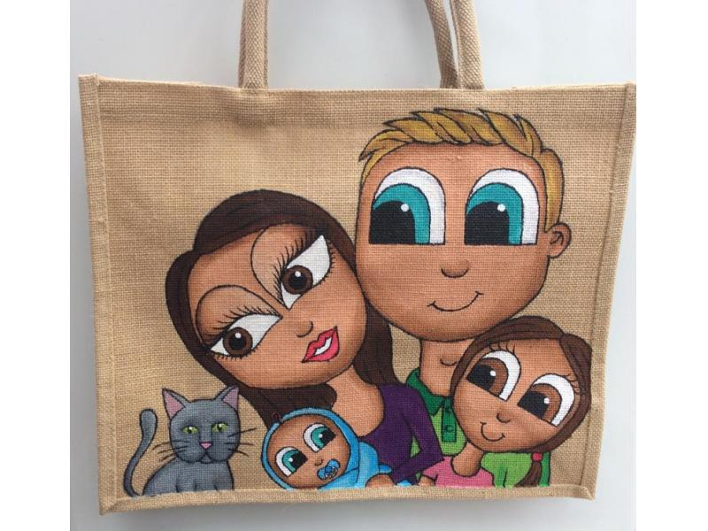 Family Bag- Large family portrait jute bag, painted hessian, can be personalised