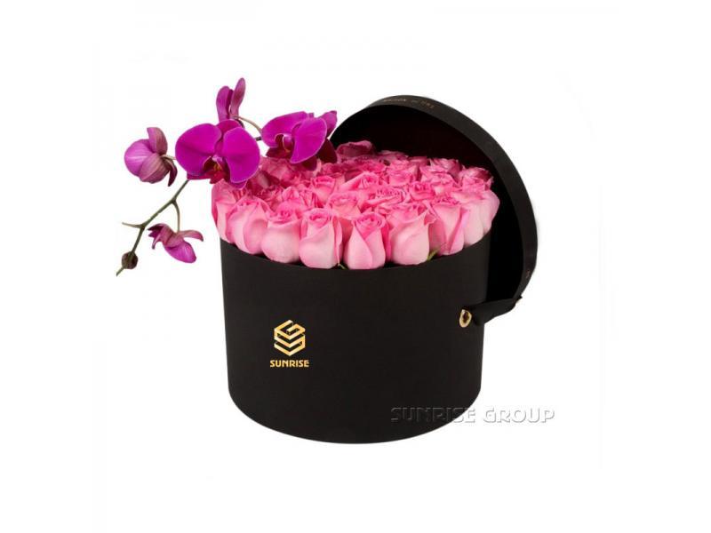 Luxury Paper Handmade Black Printing Round Flower Box Packaging