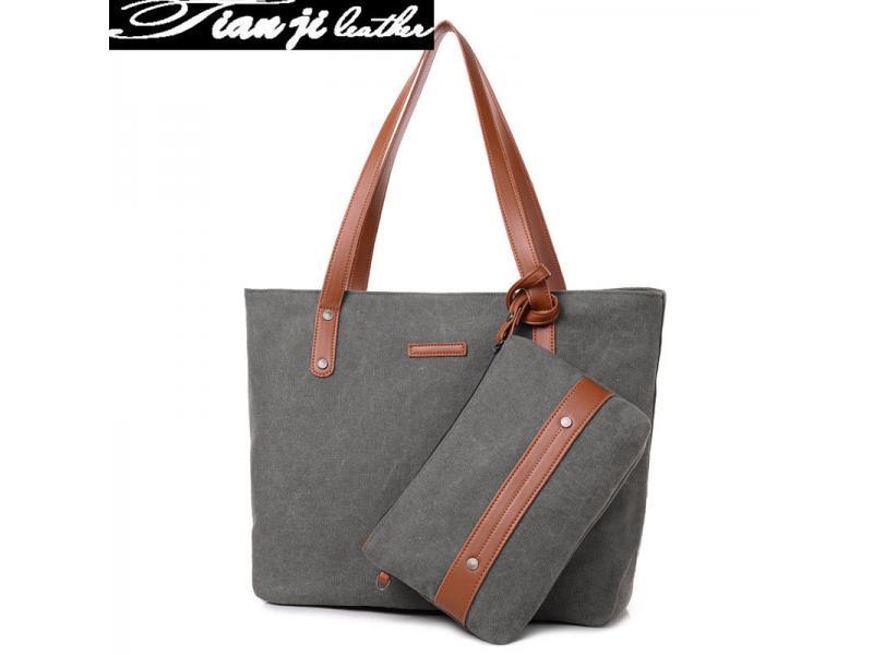 Hot New Designer Wholesale Canvas Stitching Fashion Lady Handbags (J902)