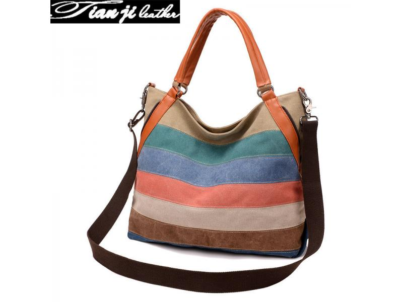 New Designer Retro Canvas Striped Fashion Lady Handbag (J922)