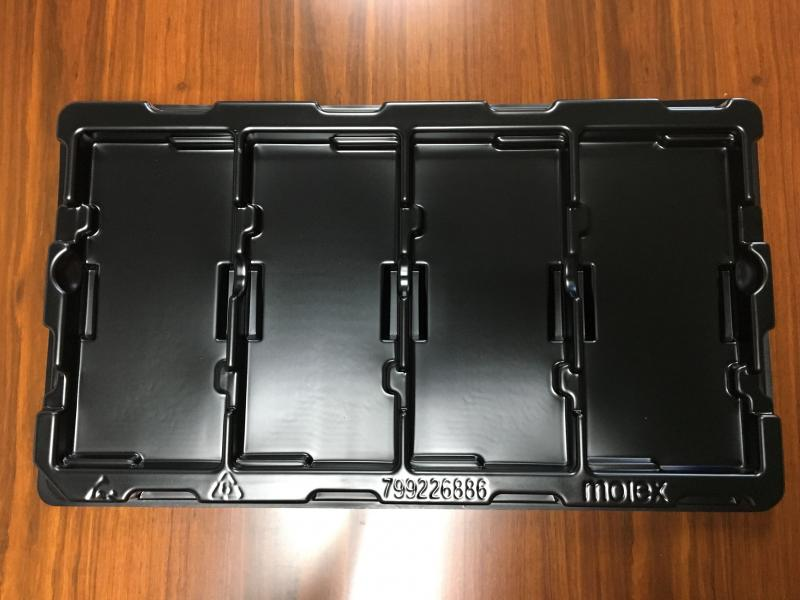 Custom module blister tray packaging for electronic black plastic trays