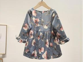 Kids long sleeves dress set baby girls knit cotton ruffle set wholesale children's boutique clothin