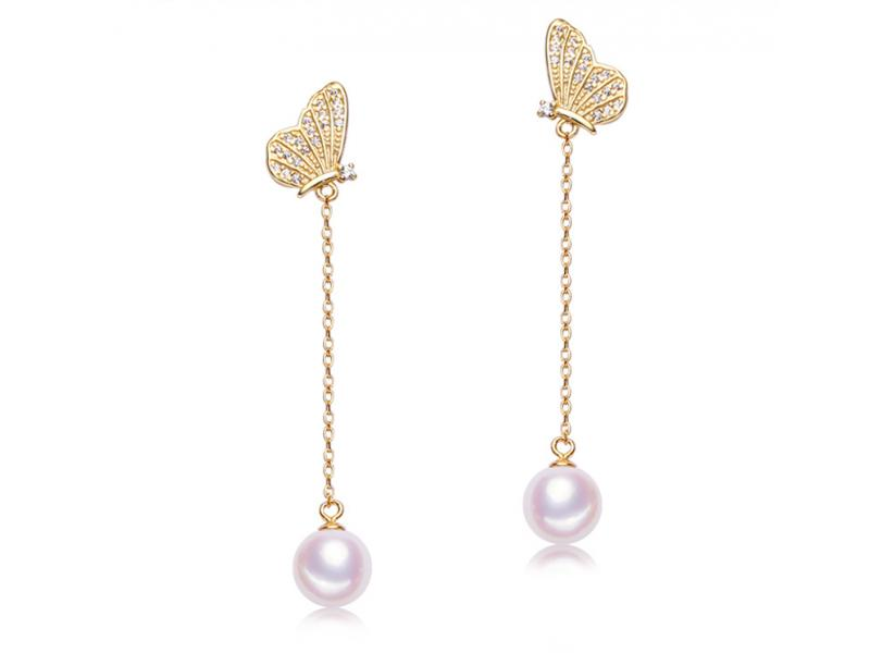 Long butterfly pendant S925 pure silver freshwater pearl earring temperament female style stud earli