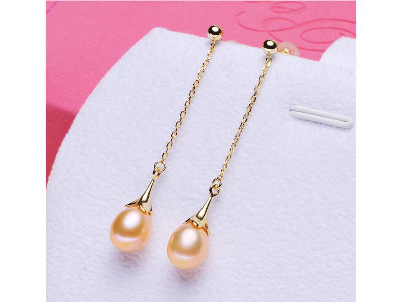 Long pendant S925 pure silver freshwater pearl earring long tassel pendant female pearl earring