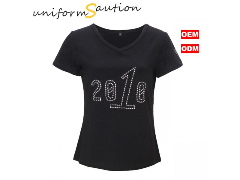 Custom fashion wide neck rhinestone lady t shirts