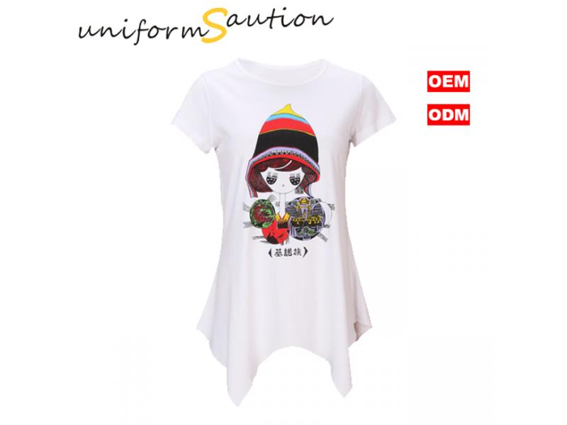 Custom special cutting cotton lady t shirt