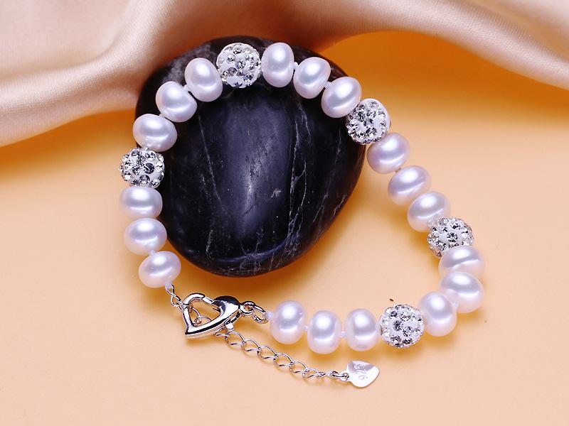 Freshwater pearl bracelet inlaid with diamond ball pearl bracelet