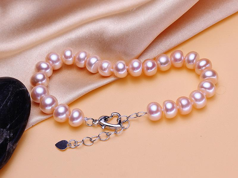 Freshwater pearl bracelet extended tail chain bright light no flat round
