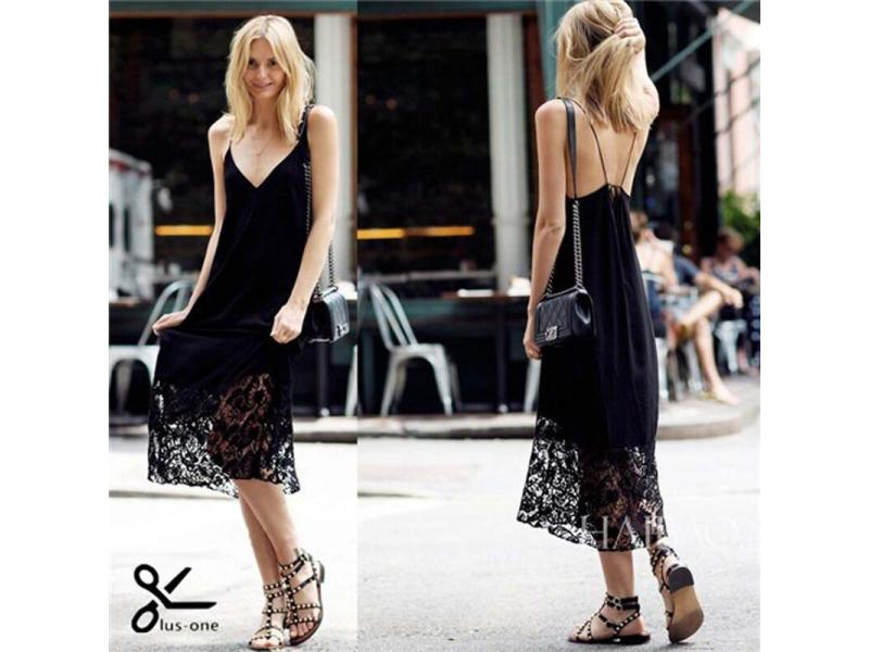 2019 NEW design lady black lace dresses from oem clothes factory