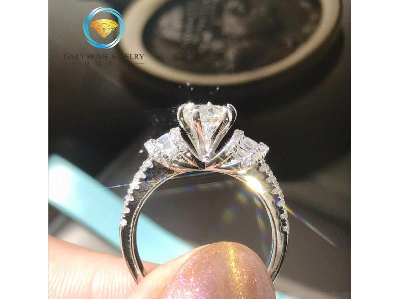 Card round drill square diamond ring female sterling silver gold-plated imitation diamond wedding en