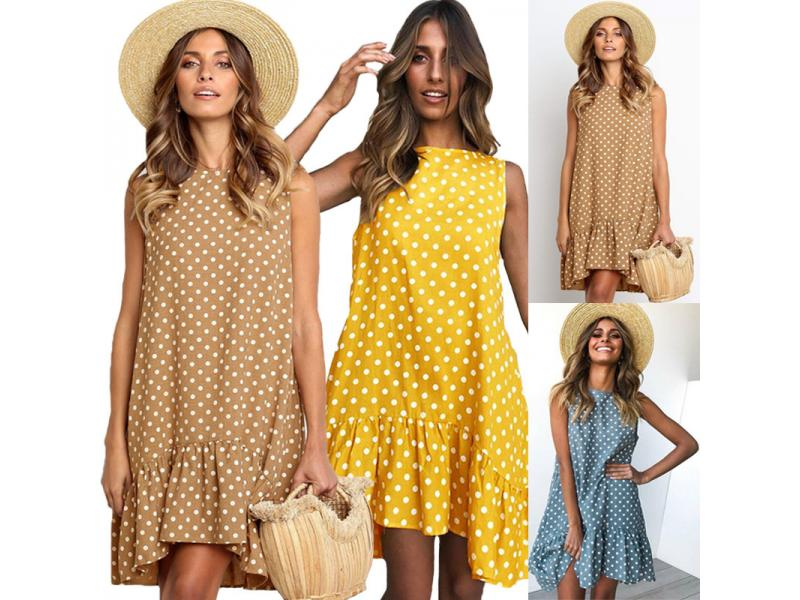 Summer Polka Dot Print Mini Dress Women 2019 Loose Style Ruffles Sleeveless Beach Dresses O Neck