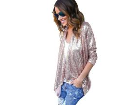Stylish Fashion Women Ladies Cardigan Open Stitch Sequined Bling Long Sleeve Asymmetrical Loose Caus