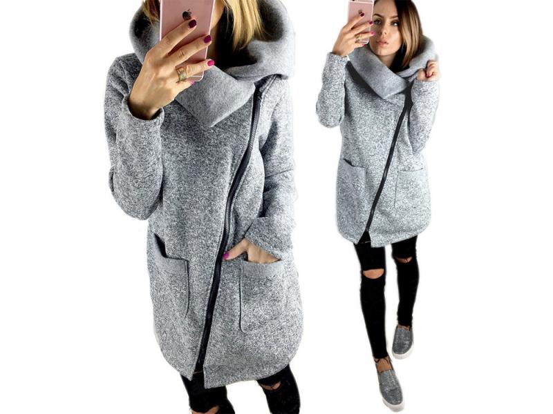 Women Autumn Winter Warm Sweatshirt Turn-down Collar Long Zipper Jacket Coat Outwear