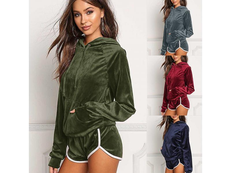 Slim Fit Long Sleeve Sport Hooded Shirt Women Workout Coat Crop Tops With Shorts Gym Women Sportswea