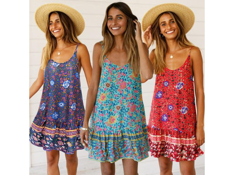 Floral Prints Flounces Straps Women Dresses Summer Deep V Neck Ruffles Hem Women Mini Beach Dress Bo