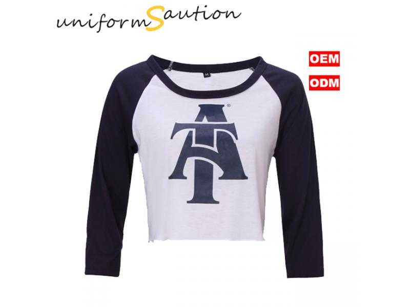 Custom fashion super soft cotton reglan 3/4 sleeve short t shirt