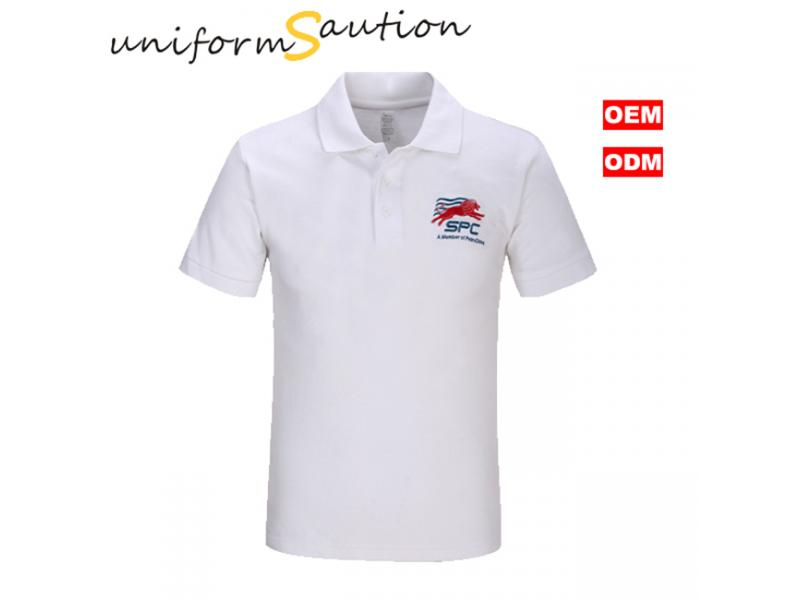 custom white cotton polo shirt with logo embroidered