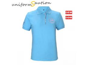 Custom combed cotton blue polo shirt