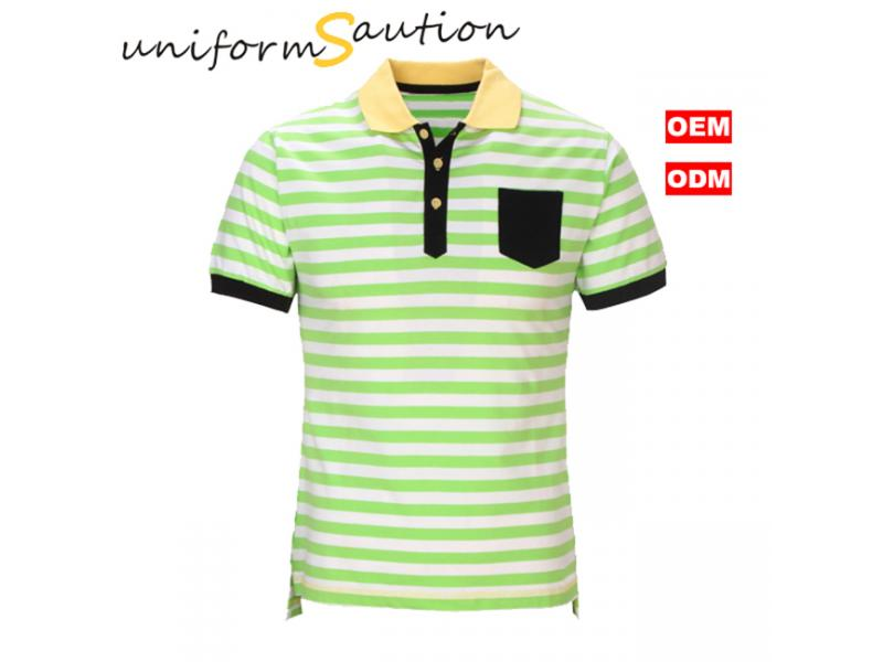 Custom cotton white and green stripes pocket polo shirt