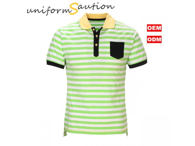 Custom cotton white and green stripes pocket polo shirt