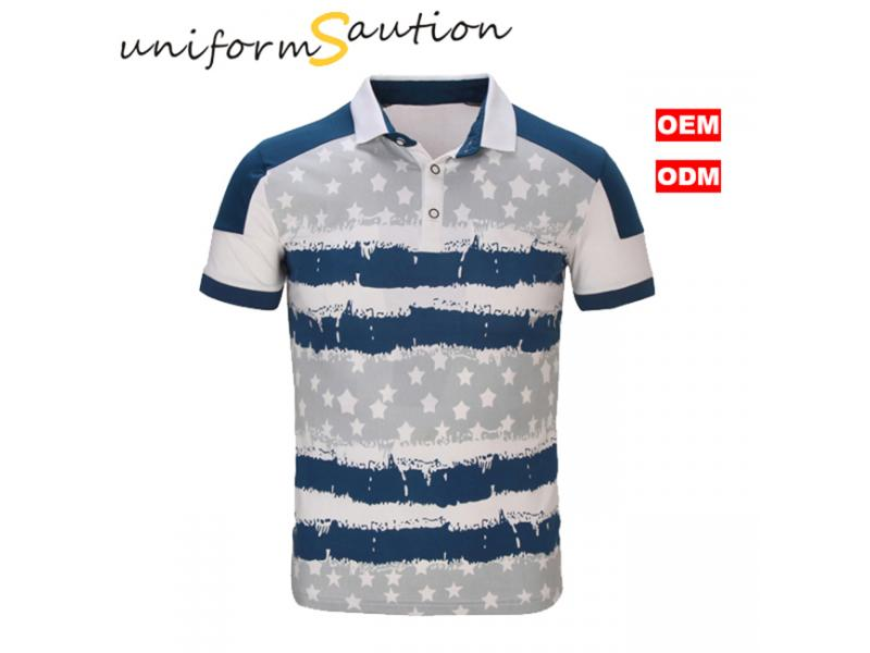 Custom allover printed cotton fashion polo shirt